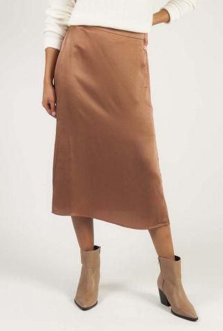zijde look rok met elastische band en split esmeralda skirt