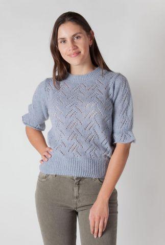licht blauwe opengewerkte trui van wolmix ester