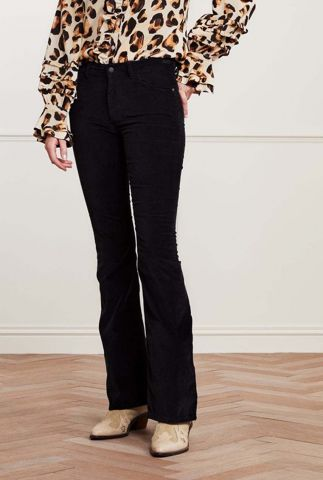 zwarte flared broek met rib dessin eva corduroy flare black