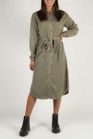 khaki blouse jurk van viscose mix evelyn dress