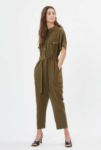 leger groene jumpsuit met korte mouwen en ceintuur evry 7027