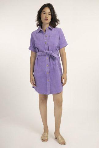 lila mini jurk met korte mouwen en ceintuur adelma