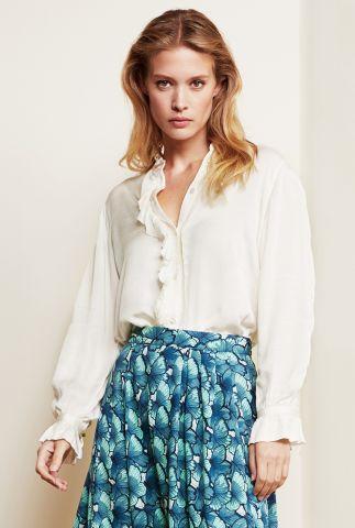 crème kleurige blouse met ruches en broderie details Mimi Blouse