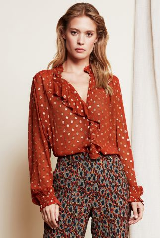 viscose blouse met goud ingeweven stippen en ruches garden blouse