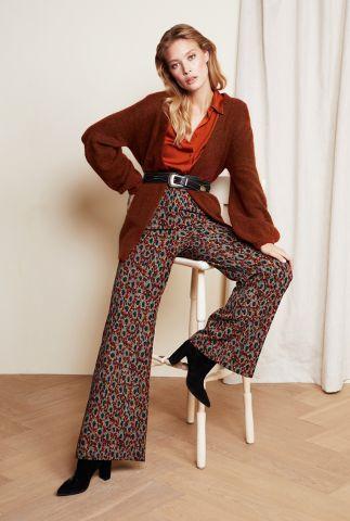 roest kleurige half lang gebreid vest met pofmouwen Kertu Cardigan