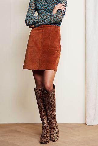 roest bruine a-lijn rok van katoen met rib dessin victoria solid skirt
