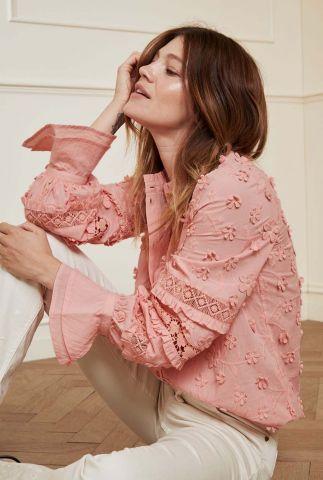 licht roze blouse met ruches en geborduurde details leo blouse