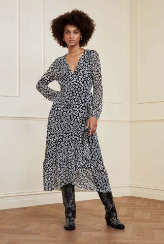 zwarte overslag jurk met bloemen dessin natasja frill dress leopard