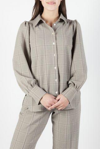 licht bruine blouse met ruiten dessin en pofmouwen felicia shirt