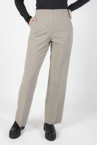 licht bruine pantalon met geruit dessin felicia trouser 54163-6069
