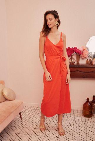rode katoenen jurk met overslag en ceintuur felma