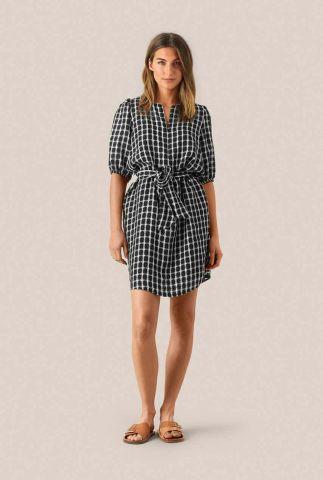 zwart witte jurk met ruit patroon feng zip dress