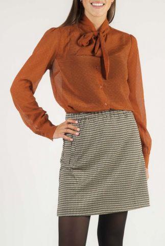 roest kleurige transparante blouse met strik detail fernanda shirt