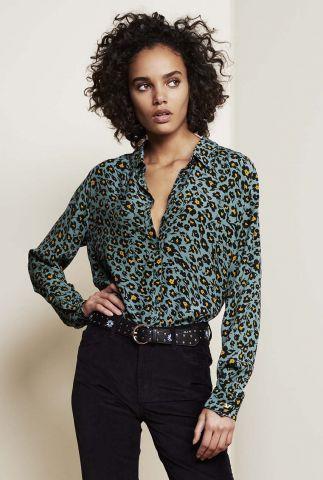 petrol kleurige viscose blouse met bloemen dessin fez blouse