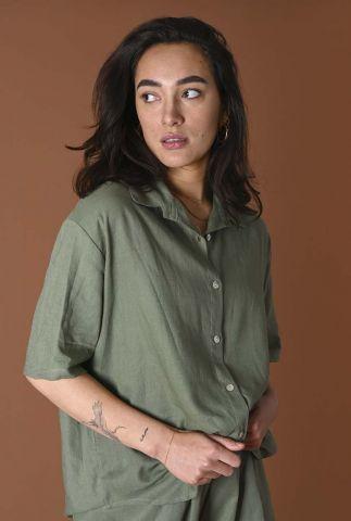 groene linnen blouse met knoopsluiting fianna linnen blouse