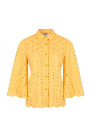gele ajour blouse met wijde mouwen en ruche details firefly blouse