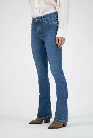 blauwe flared jeans met high waist fl hazen indigo