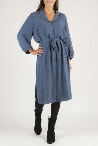 blauwe doorknoop jurk met strikceintuur flow dress