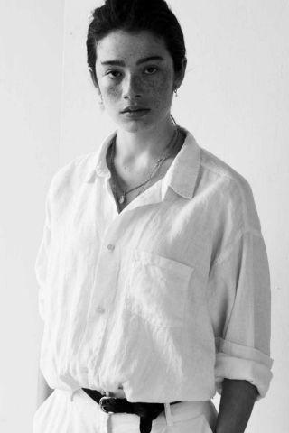 witte linnen blouse met borstzakje s21w339ltd