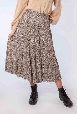 zwarte midi rok met sierlijke print frank midi skirt 54555