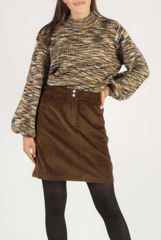 bruin gemeleerde trui met ballon mouwen franklin t-neck