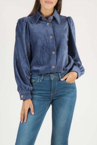 vintage blauwe blouse met rib dessin en pof mouwen freya shirt