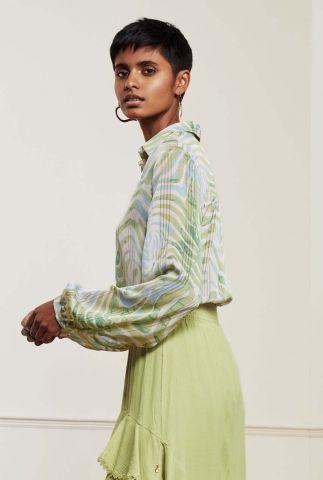 blauw groene blouse met tropisch dessin frida blouse