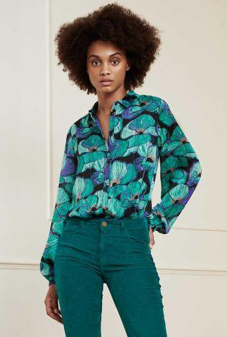 zijde look blouse met bloemen dessin frida blouse