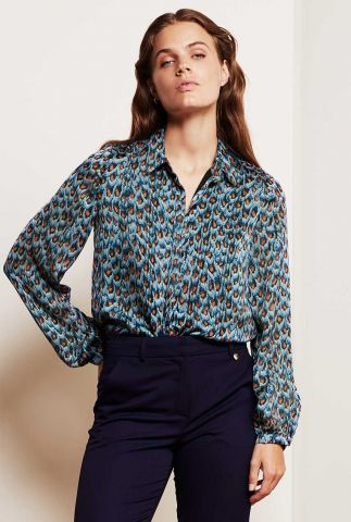 blauwe blouse met all-over pauwen print Frida Collar Blouse