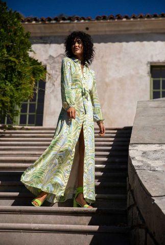 groene maxi jurk met all-over print en strikceintuur frida long dress
