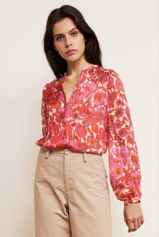blouse met all-over bloemen print en mao kraag frida lou blouse