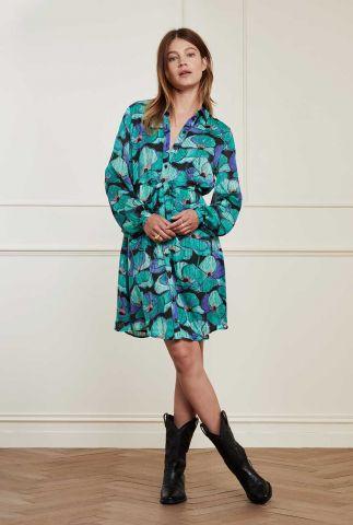 zijde look jurk met bloemen dessin Frida Short Dress
