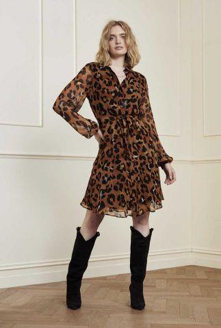 korte jurk met grote luipaard print frida cato short dress