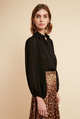 zwarte semi-transparante crêpe blouse met strepen dessin carrine