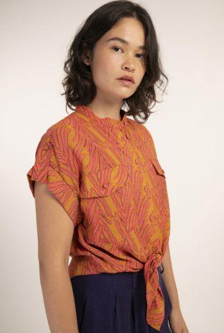 oranje knoop blouse met roze all-over bladeren print celene