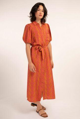 oranje maxi blouse jurk met fel roze bladeren dessin alyha