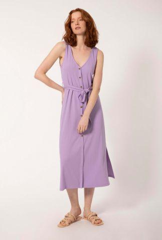 lila midi jurk met rib dessin en ceintuur astrance