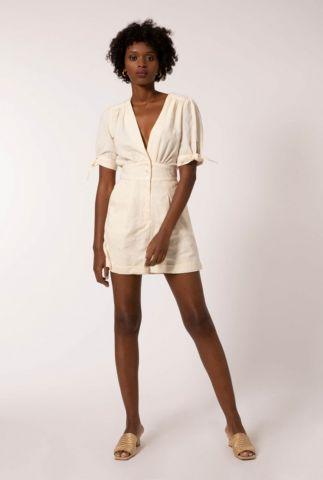 crème kleurige jumpsuit met ingeweven dessin en tailleband abdon
