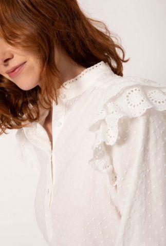witte plumetis top met broderie details en volants charme blanc