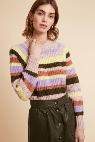gekleurde grof gebreide trui met strepen dessin nephelie