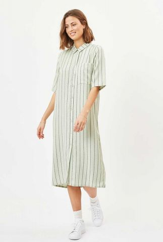lichtgroene viscose jurk met fijn streep dessin gaiana 6600