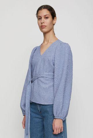 overslag blouse met ingeweven structuur galaxy wrap blouse