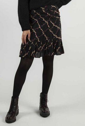zwarte mini rok met ruches en plooi details louis skirt