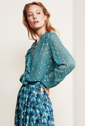 viscose blouse met goud ingeweven stippen en ruches garden blouse