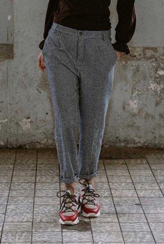 zachte zwarte broek met pied-de-poule ruit dessin gauri