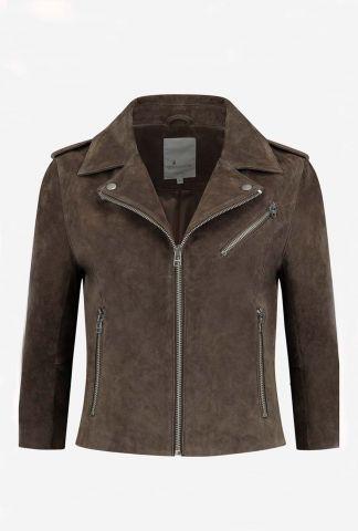 taupe kleurige suède biker jas met 3/4 mouwen gc alanis suede biker