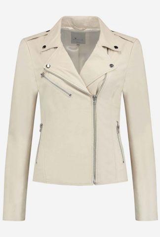 off-white leren jas met zakken en ritssluiting gc julia biker