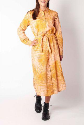 roze maxi jurk van katoen met oranje palmprint en ceintuur glenn GD0135