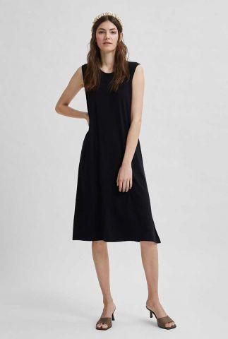 mouwloze zwarte jurk met stretch gia midi dress 16079412