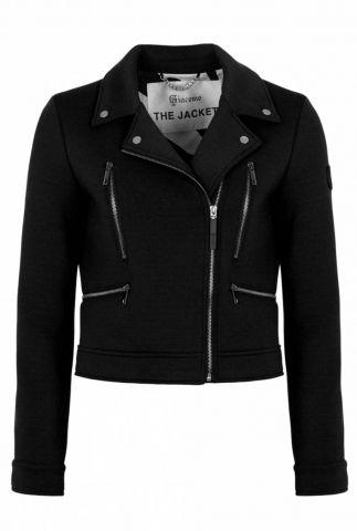 soepelvallende biker jas met ritssluiting en steekzakken 6511225